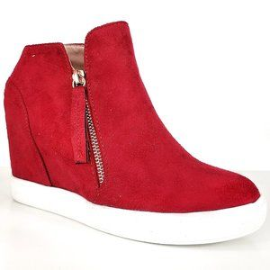 New Red Gold Zipper Hidden Wedge High Top Sneakers